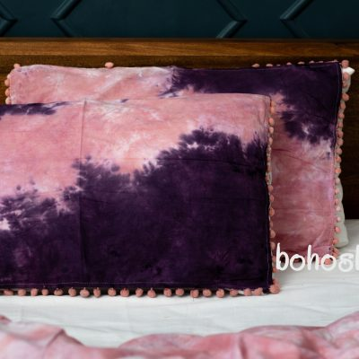 100% Soft Cozy Organic Cotton Duvet Queen Size Blanket With Pom Pillow Cover Set Hand Tie Dyed Donna Quilt Bed