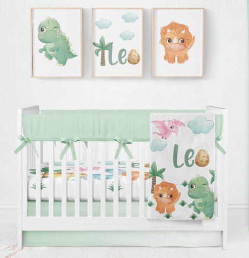 Dinosaur Crib Bedding, Nursery Bedding Set Boy, Baby Blanket, Bumpers, Personalized Blanket