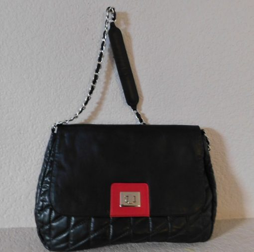 J. Barnett California Quilted Black Leather Shoulder Bag/Quilted Metal Foot Chain Strap Bag