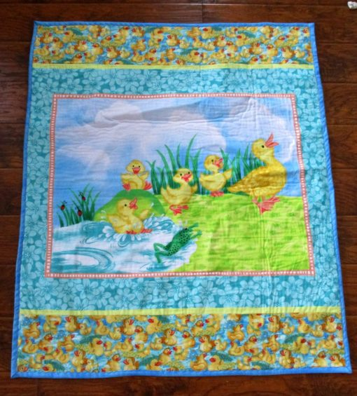 """So Sweet Mother Ducks & Her Ducklings 42""""x49"""" Nursery Crib Baby Toddler Stroller Napping Blanket Ready To Ship"""