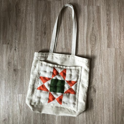 Quilted Linen Tote - Handmade 100% Classic Quilt Square Pocket