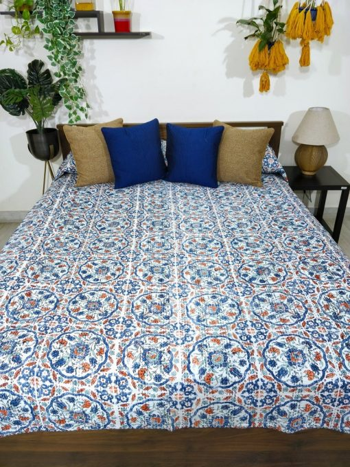 Turkish Floral Blue & White Kantha Bedcover, Multipurpose Bed Throw, Double Quilt, Pure Cotton Bedspread, & Rust Bedspread