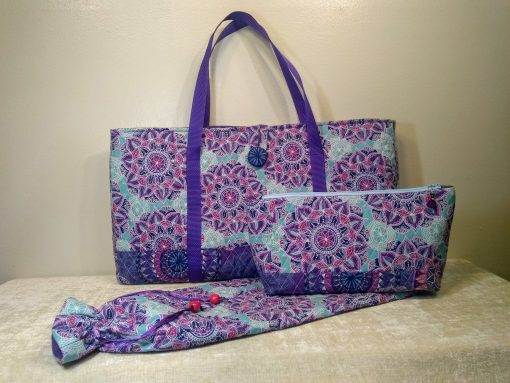 """Mahjong 3-Pc. Matching Set in Quilted Cotton-""""West Wind"""" Style Tote Bag With Button & Loop, Tile & Mat/Rack Bag - Free Shipping"""