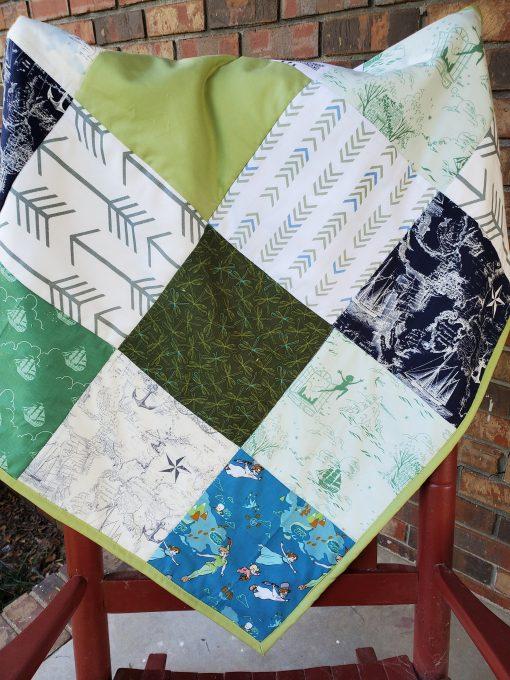 Peter Pan Quilt, Peter Pan Cuddle Blanket, Green & Navy