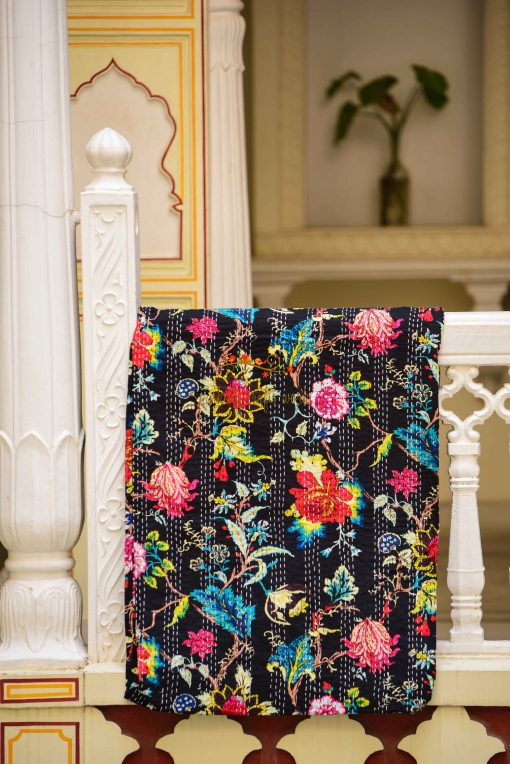 Handmade Kantha Throw Quilt Pink Floral Print Bedspread Gudri Hand Stitched Twin King Size Blanket