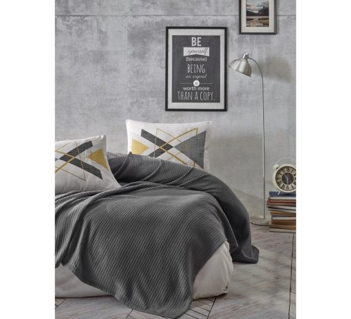 Organic 0 Cotton Bedding Set By Bhoota, Gray Bedspread With Pillow Cover & Sheet, Cosy Throw, Luxury Duvet Gift