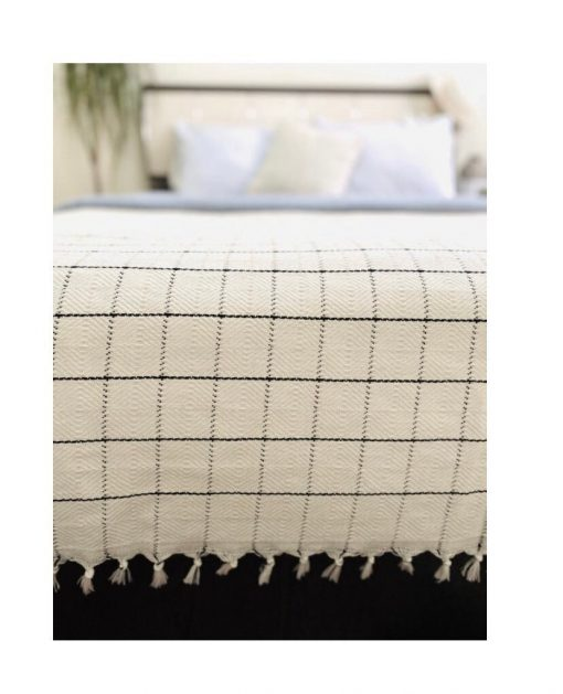 Handwoven Cotton Natural Turkish Throw Blanket For Spring & Coverlet-Soft Double Side Quilt-Plaid Or Check Black Striped Lightweight Cover