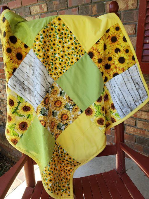 Sunflower Baby Quilt, Theme Nursery, Blanket