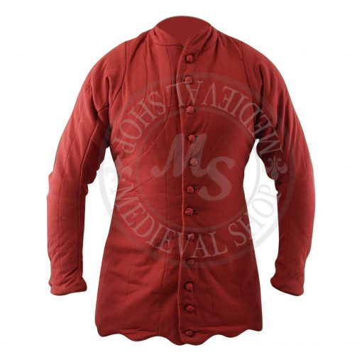 Medieval Thick Padded Full Sleeves Gambeson Red Aketon Coat Armor