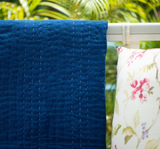 Baby Boy Crib Quilt, Kantha Quilt For Crib, Handmade Baptism Blanket For Boy, Royal Blue