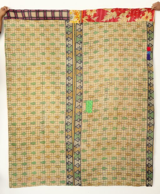 Premium Quality Organic Cotton Vintage Kantha Quilt Handmade Bedsheet Home Decor Reversible Ralli Recycled Old Blanket