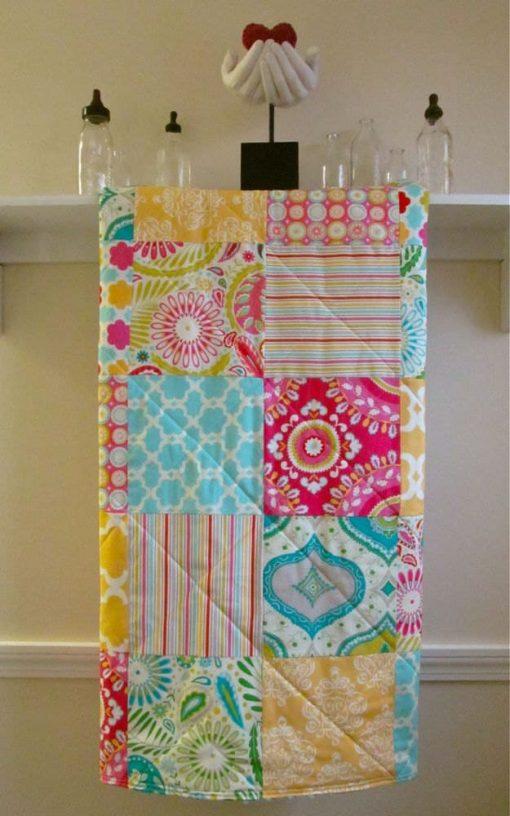 Baby Quilt Girl Floral Pink Yellow Blue Green Fuchsia, Crib Bedding, Blanket Minky Back Quilt, Modern Handmade, Sunny Kumari