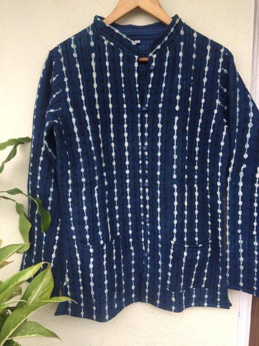 Indigo Cotton Quilted Jacket, Boho Jacket, Gifts For Her, Organic Jacket, Block Print Jacket, Indigo Jacket