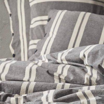 """Umut 3 Pieces Queen/Double Cotton/Linen Doga Charcoal Striped Duvet Cover Set, Cotton Quilt Cover, Duvet 87""""x79"""", 2 Pillow Cases 20x30"""""""