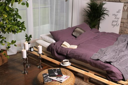 Duvet Cover Set in Purple Of Organic Linen, Duvet Cover With 2 Pillowcases, Full Size, Queen King Size