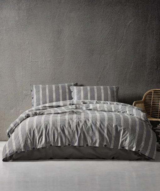 """3 Pieces Queen/ Double Cotton Sateen Doga Charcoal Striped Duvet Cover Set, Quilt Cover, Duvet 87""""x79"""", 2 Pillow Cases 20x30"""""""