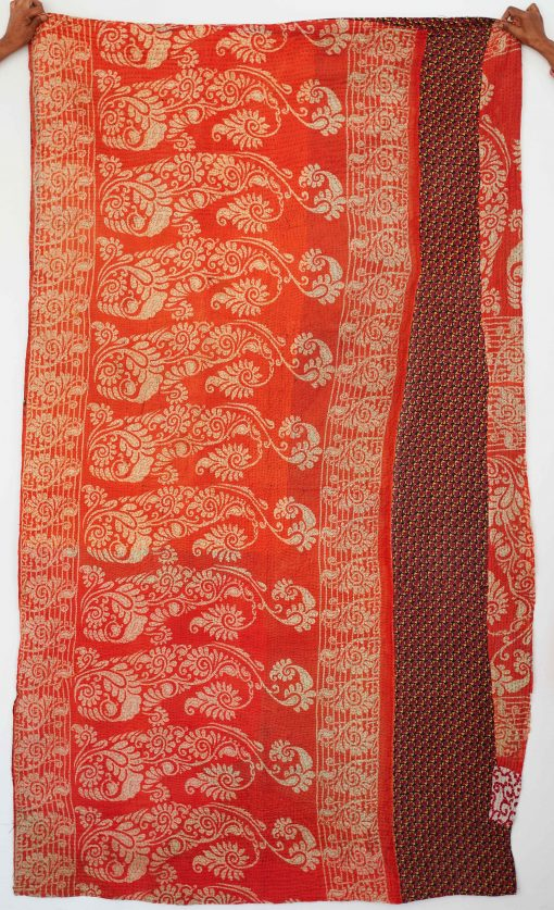 Brown Reversible Organic Cotton Vintage Kantha Quilt High Quality Handmade Bedsheet Home Decor Recycled Old Blanket