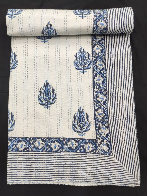 Original Hand Block Printed Bedcover Hand Stitched Throw Reversible Blanket Blue Kantha Quilt Organic Cotton Floral Print