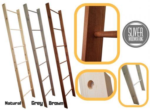Decorative Farmhouse Blanket Ladder - Tall 7 Ft Rustic Wooden Ladder Decor Quilt Rack Organizer Throw Ladder Towel