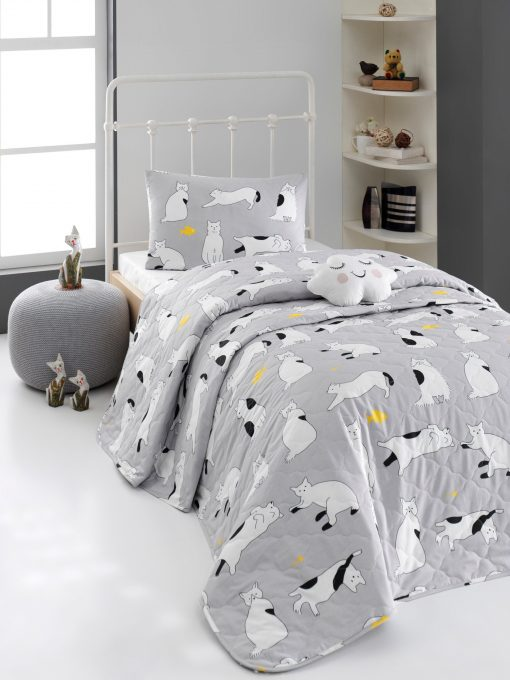 Kids Organic Cotton Weave Printed Cat Pattern Quilted Bedspread Set, Child & Pillowcase, 0 Kid Blanket, Gift For