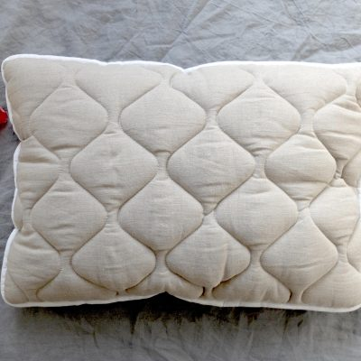 Wool Pillow, Linen Quilted Filled Sleep Bed Organic Bedding, King Size Home Gift
