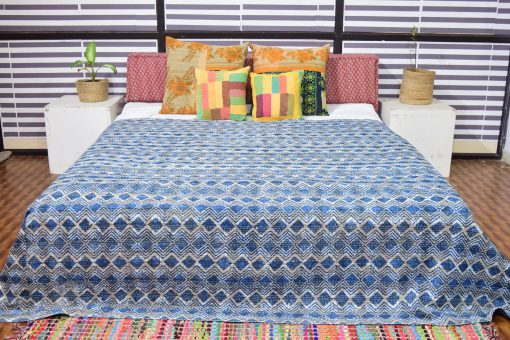Indigo Kantha Quilts, Handmade Quilted Printed Quilt , Geometric Designs Twin/Queen Size