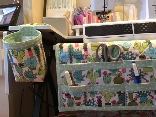 Cactus Print Quilted Sewing Machine Mat & Matching Thread Catcher With Pin Cushion Optional Cup Cozy