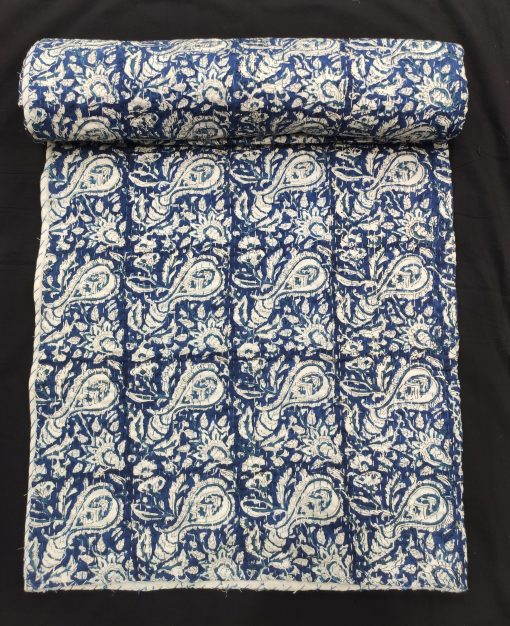 Hand Block Printed Queen Size Bed Cover Hand Stitched Reversible Cotton Kantha Gudari Washable Organic Cotton Floral Pattern