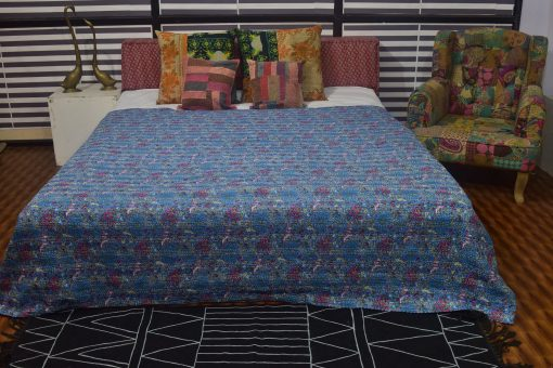 Floral Designs Kantha Quilts, Handmade Quilted Printed Quilt , Twin/Queen Size Quilt
