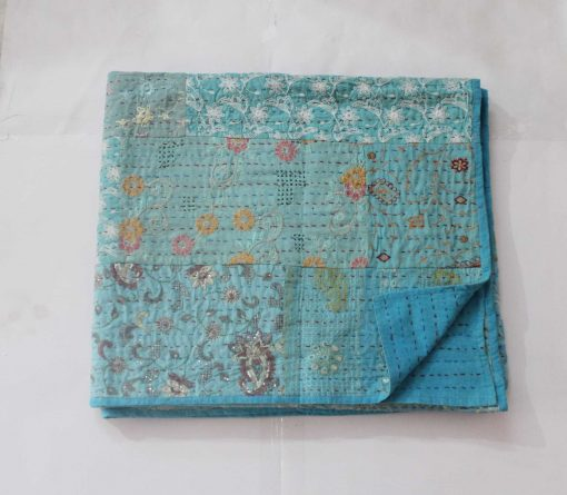 Assorted Turquoise Kantha Quilt Hand Embroidered Sari Patchwork Blanket Cotton Bedspread Queen Size Bed Cover Reversible Throw