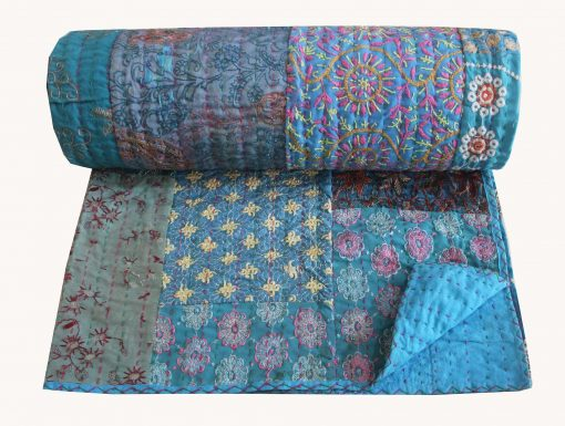 Assorted Turquoise Hand Embroidered Kantha Quilt Sari Patchwork Blanket Cotton Bedspread Queen Size Bed Cover Reversible Throw