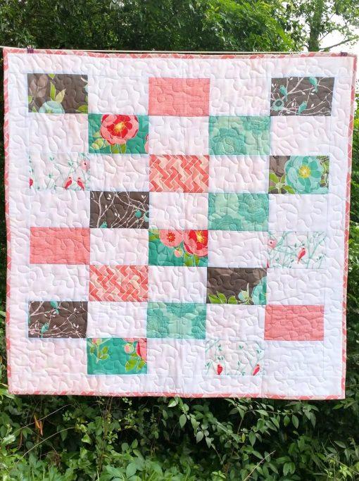 Baby Girl Quilt - Pink, White, Aqua, Gray - Cottage Garden - Riley Blake - Stroller Nursery Bedding - Homemade Quilt