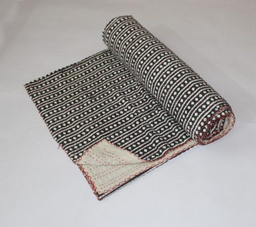 Black Handmade Kantha Quilt Hand Stitched Blanket Reversible Throw Diamond Design Bedspread Bed Cover