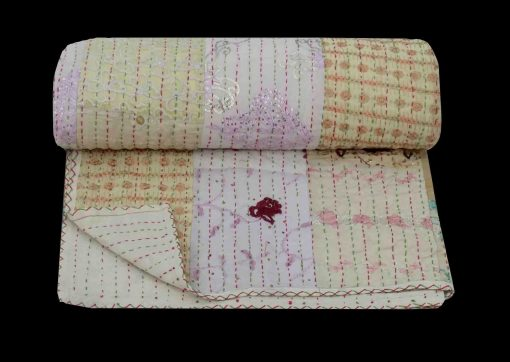White Hand Embroidered Kantha Quilt Handmade Sari Patchwork Blanket Cotton Bedspread Queen Size Bed Cover Reversible Throw