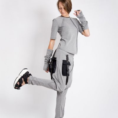Casual Set Of Two Pieces, Sports Loose Short Sleeve Blouse Women & Organic Harem Pants Women, Grey Tracksuit Quilted Top, Sailor