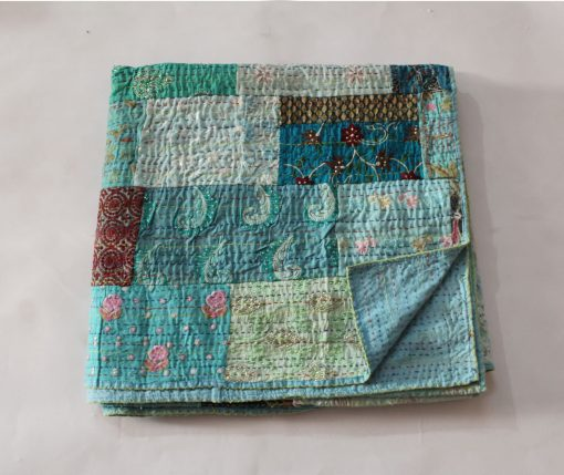 Assorted Turquoise Handmade Kantha Quilt Hand Embroidered Sari Patchwork Blanket Cotton Bedspread Queen Size Bed Cover Throw