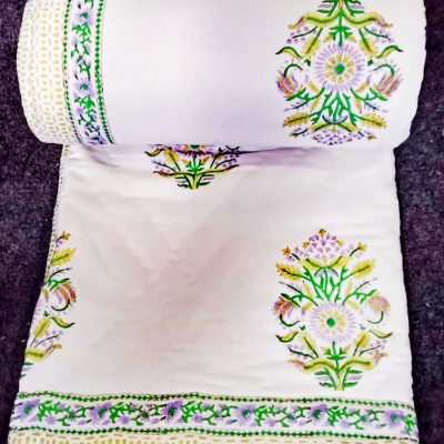 Exclusive Pattern Of Hand Block Printing On Soft Voile Fabric & Filled By Organic Natural Cotton in Quilt Warm Comforter Queen Size