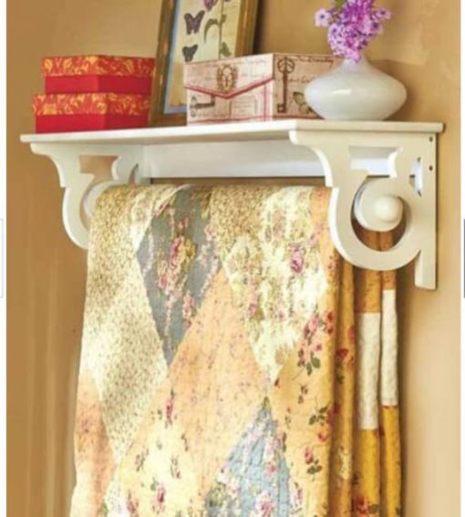 Deluxe Quilt Blanket, Holder Wall Storage, Rack With Shelf Scrolled , White Finish, Free Shipping