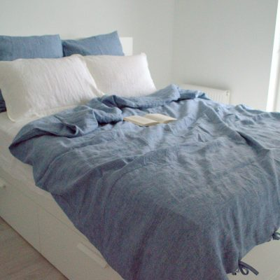 Blue Linen Duvet Cover With Ties. Pure Softened Bedding. Natural Organic Comforter. Washed Seamless Queen King Custom Size Quilt
