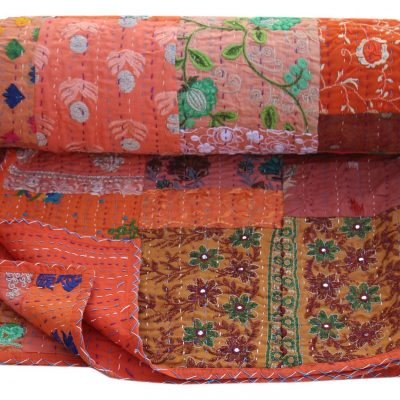 Orange Handmade Kantha Quilt Hand Embroidered Sari Patchwork Blanket Cotton Bedspread Queen Size Bed Cover Reversible Throw