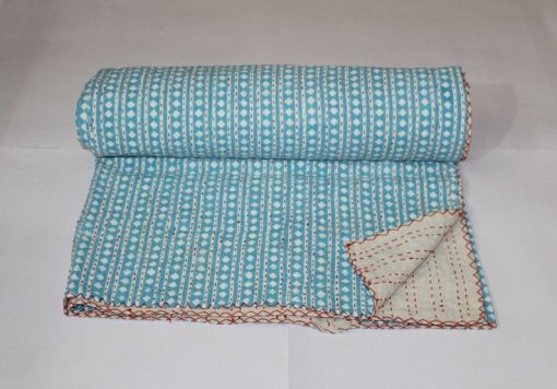 Turquoise Handmade Kantha Quilt Hand Stitched Blanket Reversible Throw Diamond Design Bedspread Bed Cover