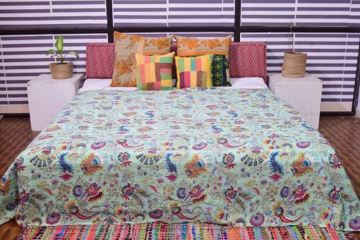 Kantha Quilts, Handmade Quilted Printed Quilt , Crown Designs Twin/Queen Size
