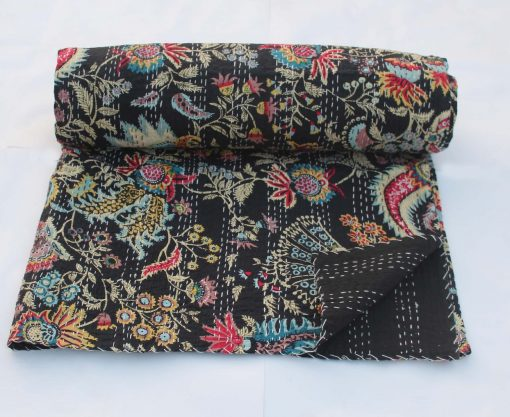 Black Handmade Kantha Quilt Queen Size Blanket Hand Stitched Bohemian Throw Floral Design Bedspread Cotton Bed Cover