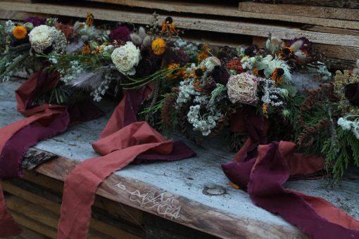 Dried Flower Bouquet, Bridal Orange Halloween Wedding, Rust Autumn Bouquet