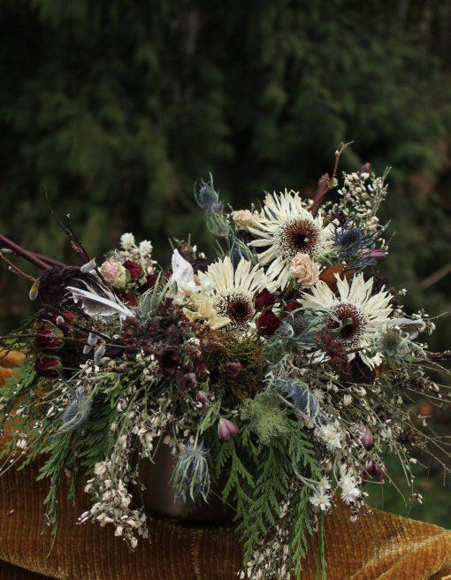 Dried Flower Bouquet, Daisy Gerbera Black & White Bridal Neutral Cream Eco