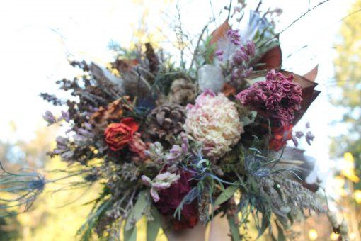 Dried Flower Bouquet, Neutral Burgundy Blush & Marsala Peony Rustic Elope