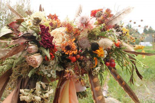 Dried Flower Bouquet, Bridal Orange Rust Halloween Autumn Sunflower Bouquet