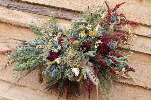 Dried Flower Bouquet, Wheat Burgundy Bridal Rustic Thistle Autumn Bouquet