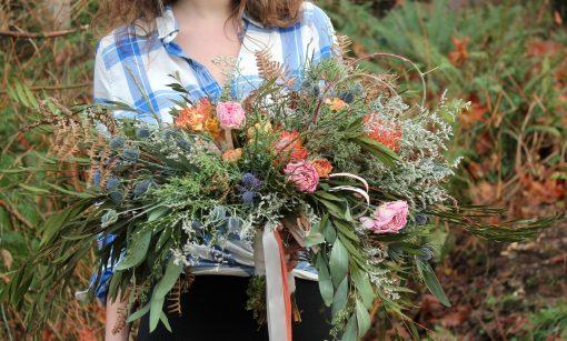Dried Flower Bouquet, Orange Bridal & Pink Woodland Seattle Wedding
