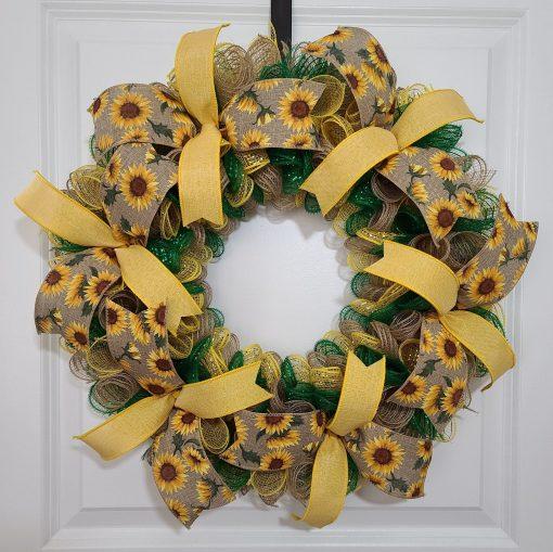 Sunflower Wreath, Summer Farmhouse Wall Decor, Country Decor